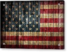 American Flag Painted On Reclaimed Barn Wood Acrylic Print