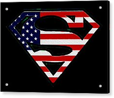 American Flag Superman Shield Acrylic Print