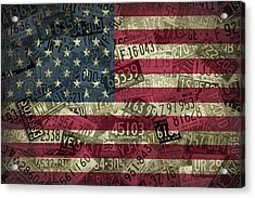 American Flag Vintage Assorted License Plate Art Acrylic Print