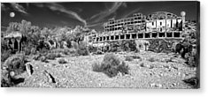 Acrylic Print featuring the photograph American Flat Mill Virginia City Nevada Panoramic Monochrome by Scott McGuire
