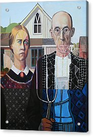 American Gothic After Grant Wood In Six Styles Acrylic Print