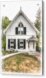 American Gothic Cottage Watercolor Acrylic Print