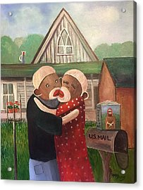 American Gothic The Monkey Lisa And The Holler Acrylic Print
