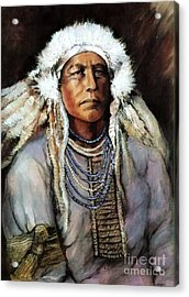 American Indian Chief Acrylic Print by Linda Olsen