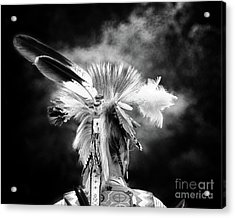 American Indian In Black And White Acrylic Print by Tom Gari Gallery-Three-Photography