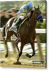 American Pharoah And Victory Espinoza Win The 2015 Belmont Stakes Acrylic Print