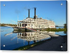 American Queen Steamboat Reflections On The Mississippi River Acrylic Print