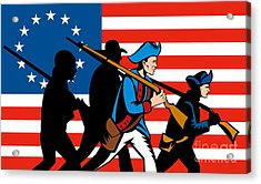 American Revolutionary Soldier Marching Acrylic Print by Aloysius Patrimonio