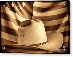 American Rodeo Cowboy Hat Acrylic Print by American West Legend By Olivier Le Queinec
