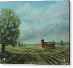 Acrylic Print featuring the painting American Scene Red Barn  by Katalin Luczay