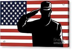American Soldier Salute Acrylic Print by Aloysius Patrimonio