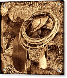 American West Legend Rodeo Western Lasso On Saddle Acrylic Print by American West Legend By Olivier Le Queinec