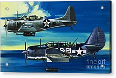 American Ww2 Planes Douglas Sbd1 Dauntless And Curtiss Sb2c1 Helldiver Acrylic Print by Wilf Hardy
