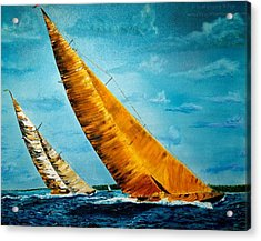 Americas Cup Sailboat Race Acrylic Print by Gregory Allen Page