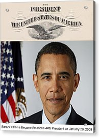 America's Forty-fourth President - Version Two Acrylic Print by Philip Burrow
