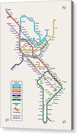 Americas Metro Map Acrylic Print by Michael Tompsett