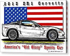 America's Old Glory 2013 Zr1 Corvette Acrylic Print