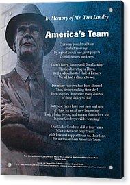 America's Team Poetry Art Acrylic Print by Stanley Mathis