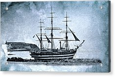 Amerigo Vespucci Sailboat In Blue Acrylic Print