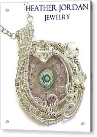 Amethyst Stalactite Slice Druzy Wire-wrapped Pendant In Sterling Silver With Herkimer Diamonds Acrylic Print