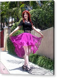Ameynra Fashion, Pink-black Mood. Model Sofia Metal Queen Acrylic Print