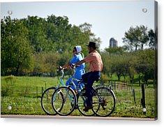 Amish Bike Ride Acrylic Print by Jeffrey Platt