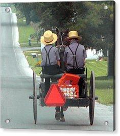 Amish Boys On A Ride Acrylic Print by Lori Seaman