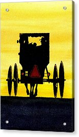 Amish Buggy At Dusk Acrylic Print by Michael Vigliotti