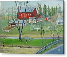 Acrylic Print featuring the painting Amish Farm by Oz Freedgood