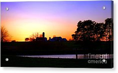 Amish Farm Sunset Acrylic Print by Olivier Le Queinec