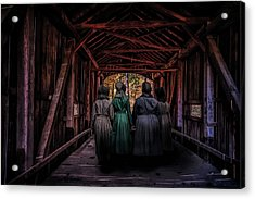Amish Girls In Covered Bridge Acrylic Print