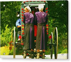 Amish Girls On Roller Blades Acrylic Print by Jeanette Oberholtzer