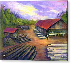 Acrylic Print featuring the painting Amish Lumbermill by Gail Kirtz