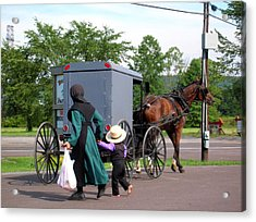 Amish Mother And Son Acrylic Print by George Jones