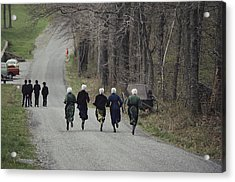 Amish People Visiting Middle Creek Acrylic Print by Ira Block
