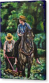 Amish Plowing Acrylic Print by Laurie Tietjen