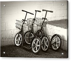 Amish Scooters In Black And White Acrylic Print