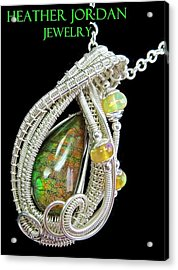 Ammolite And Sterling Silver Wire-wrapped Pendant With Ethiopian Opals Amltpss2 Acrylic Print