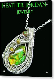 Ammolite And Sterling Silver Wire-wrapped Pendant With Ethiopian Opals Amltpss4 Acrylic Print