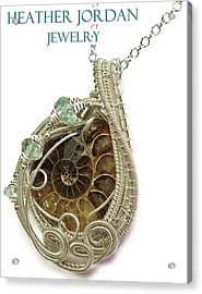 Ammonite Wire-wrapped Pendant In Sterling Silver With Aquamarine Fapss4 Acrylic Print
