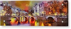 Amsterdam At Night Acrylic Print by Anthony Caruso