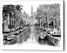 Amsterdam Canal 2 Black And White Acrylic Print