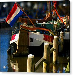 Amsterdam Canal Barge Acrylic Print by Nick Diemel