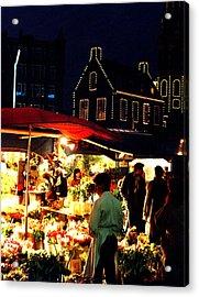 Amsterdam Flower Market Acrylic Print by Nancy Mueller