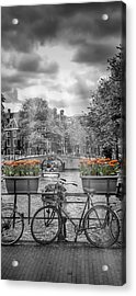 Amsterdam Gentlemen's Canal Upright Panoramic View Acrylic Print by Melanie Viola