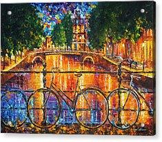 Amsterdam - The Bridge Of Bicycles  Acrylic Print by Leonid Afremov