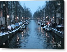 Amsterdam Winter Blues Acrylic Print by Carol Groenen