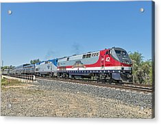 Acrylic Print featuring the photograph Amtrak 42  Veteran's Special by Jim Thompson