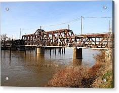 Amtrak California Crossing The Old Sacramento Southern Pacific Train Bridge . 7d11674 Acrylic Print by Wingsdomain Art and Photography