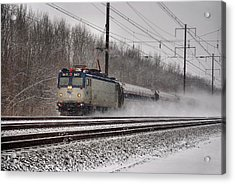 Amtrak In Snowstorm Acrylic Print